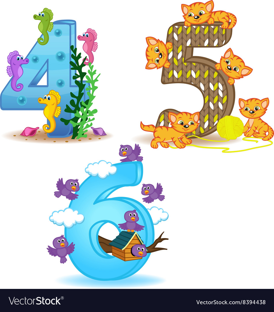 set of numbers with number of animals from 4 to 6 vector image