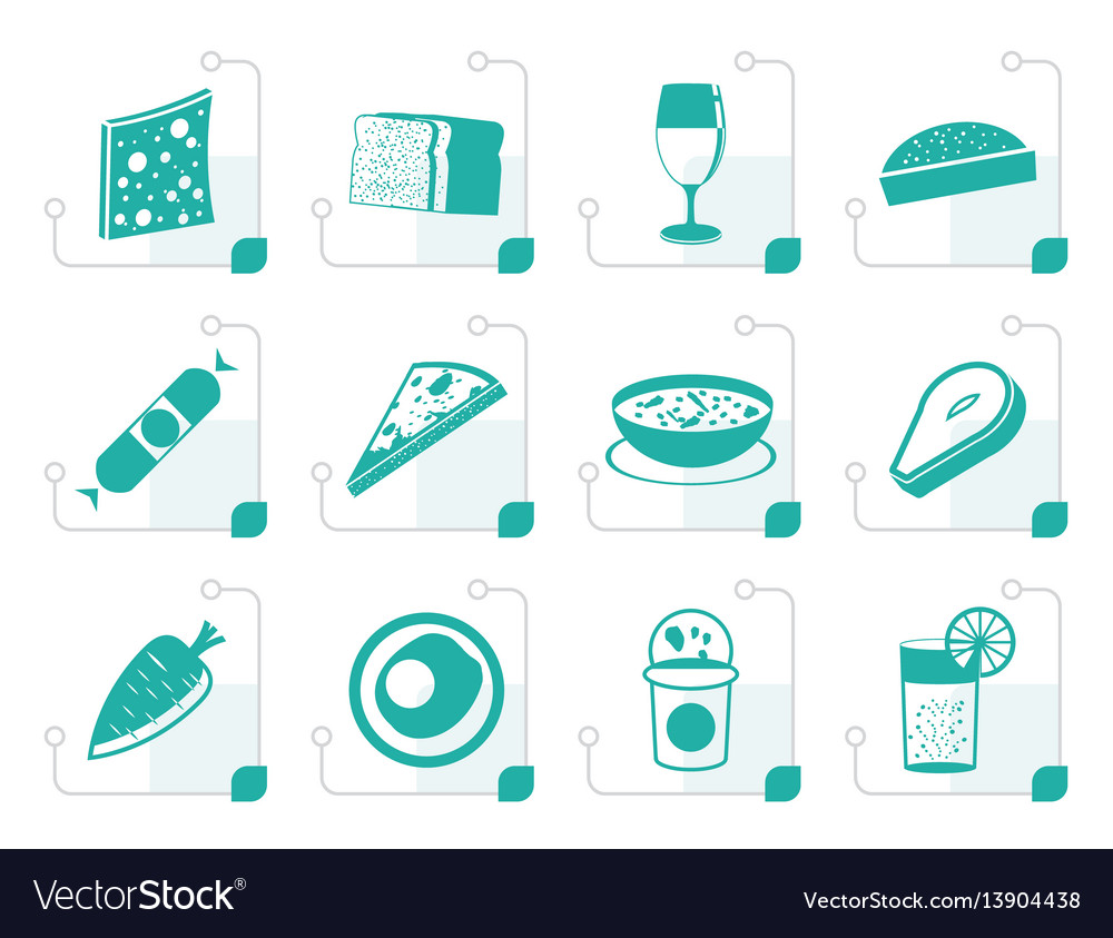 Stylized shop food and drink icons 2 vector image