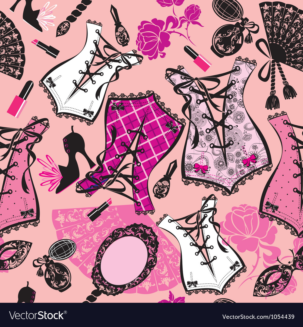 Seamless pattern with beautiful retro corsets vector image