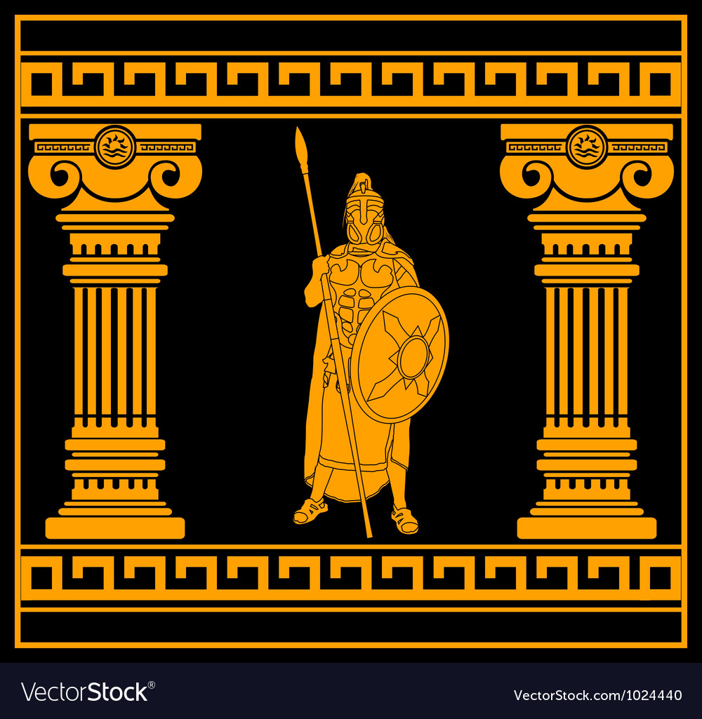 Fantasy warrior with with columns second variant Vector Image