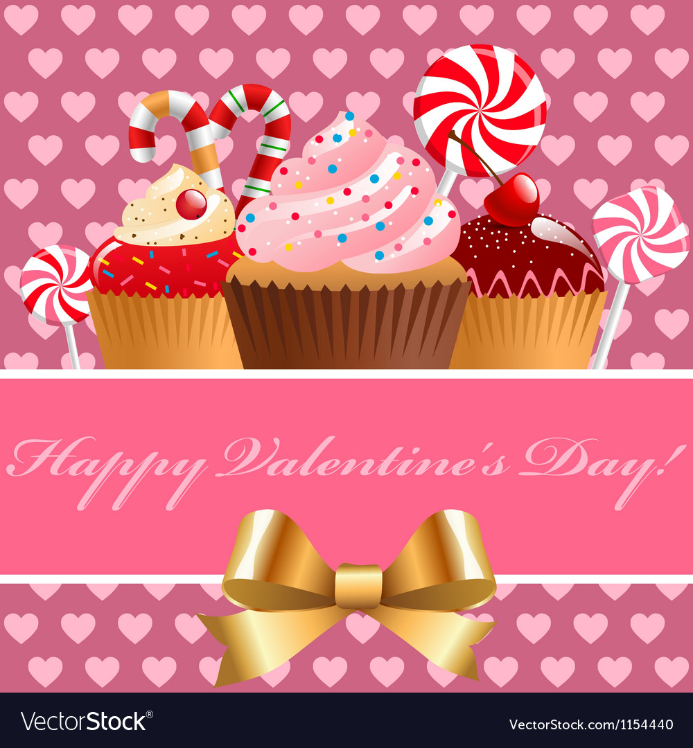 Valentine day pastry and sweets Vector Image