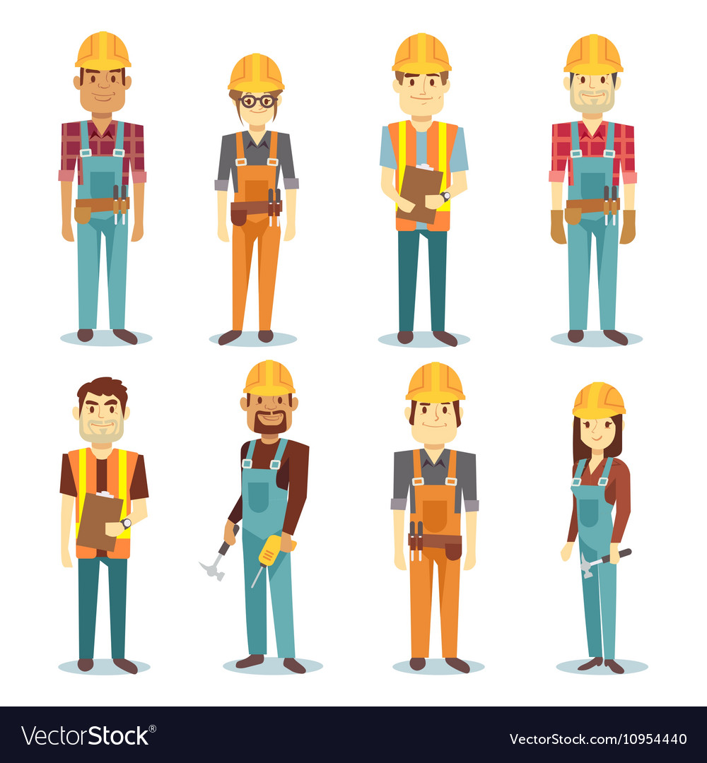 Builder contractor man and female worker vector image