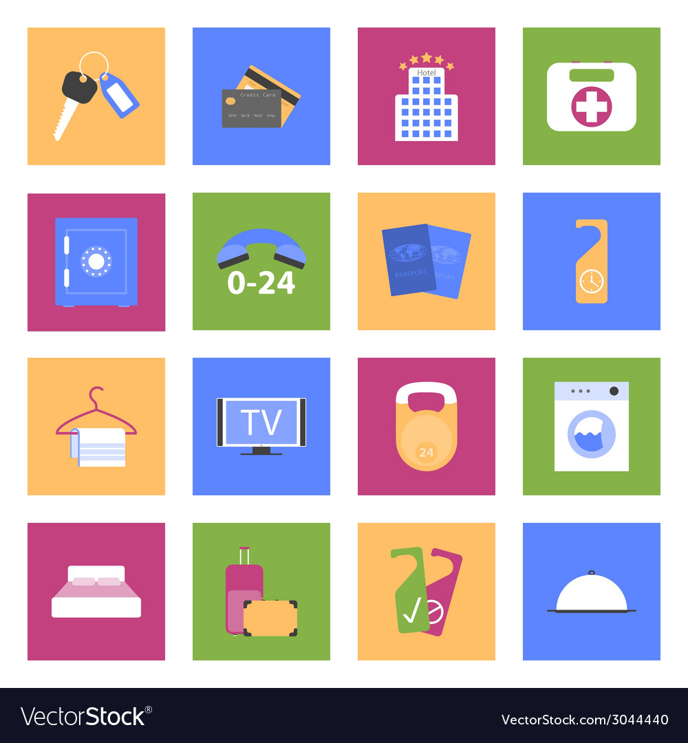 Hotel flat icons set vector image