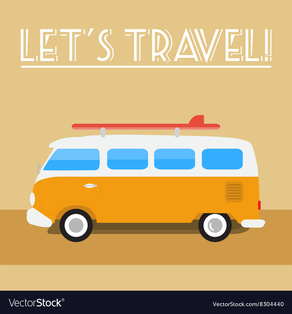 Retro travel-bus with surf board vector image