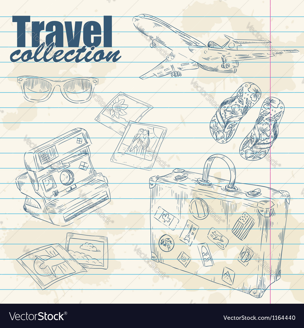 Travel objects on notebook paper vector image