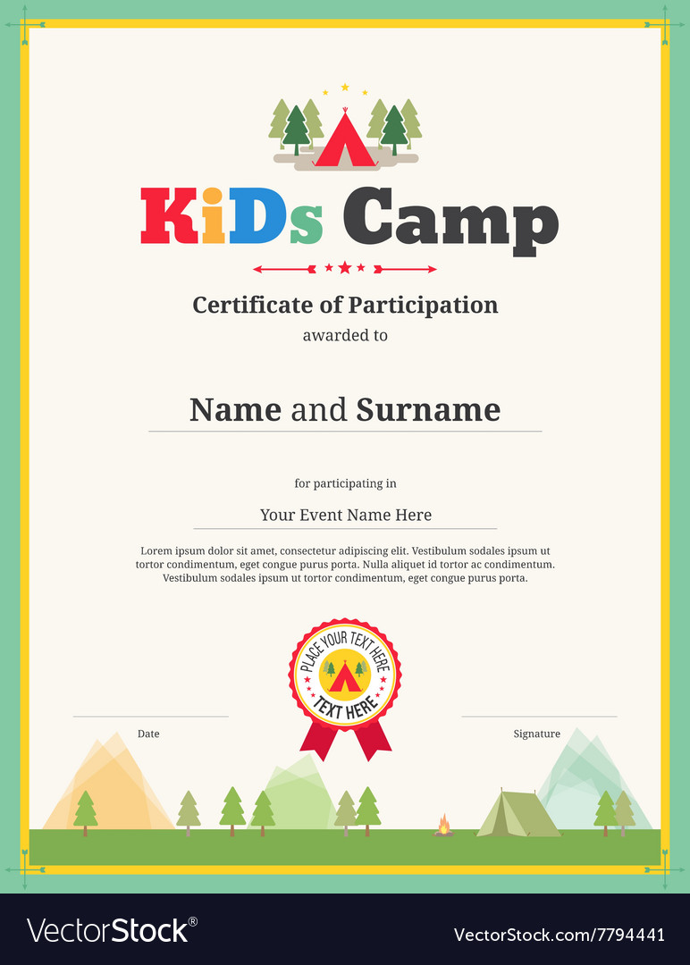 Kid Certificate Of Participation Template For Camp Vector Image  Certificate Of Participation Free Template