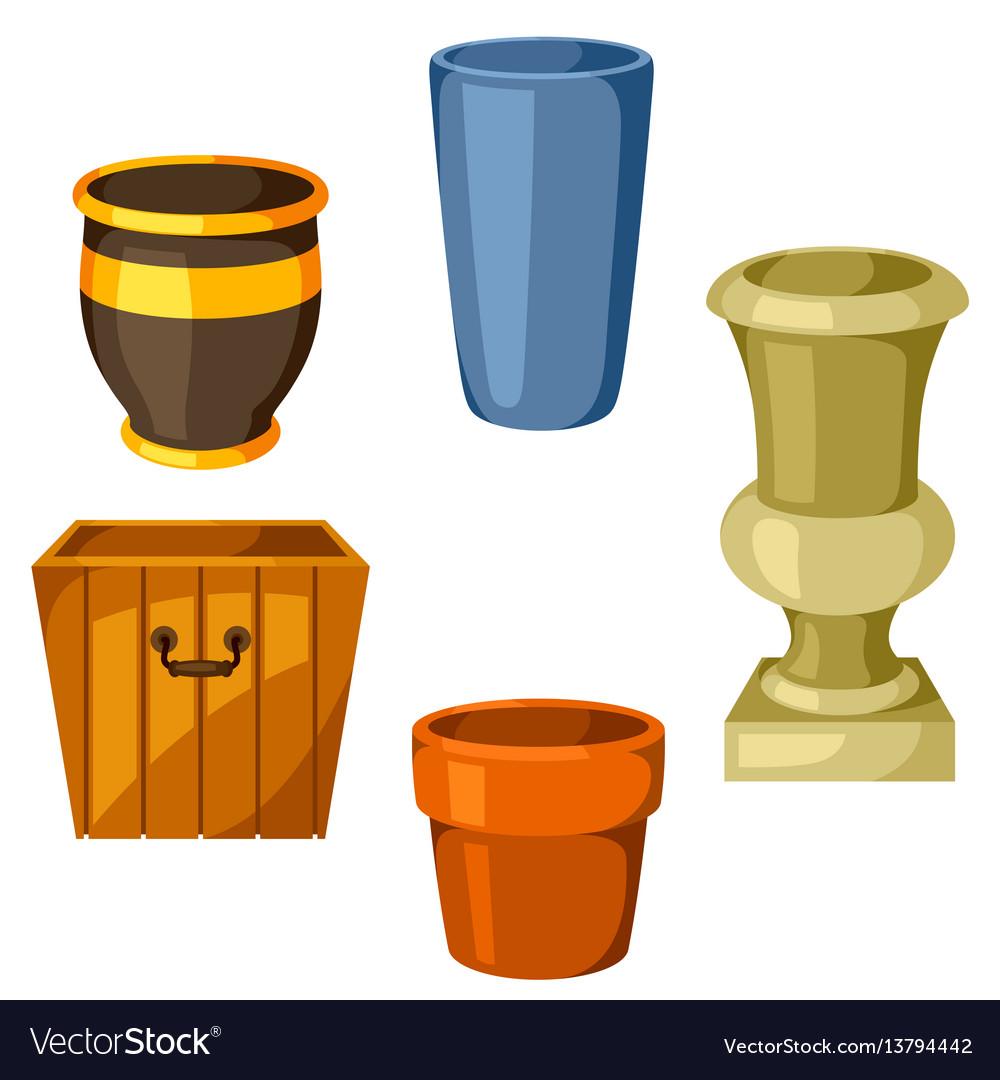 Garden pots set of various color flowerpots vector image