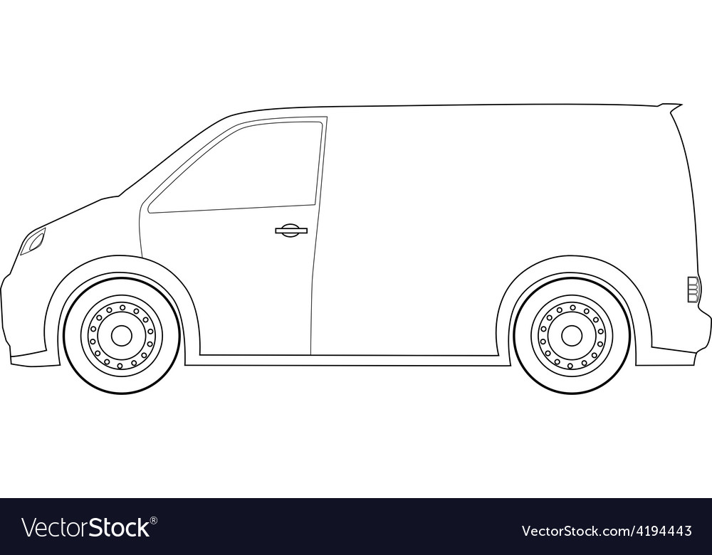 Delivery car outline drawings Royalty Free Vector Image