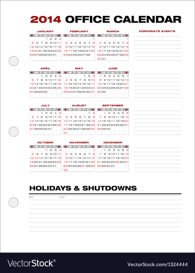 2014 Clean Corporate Office Calendar vector image