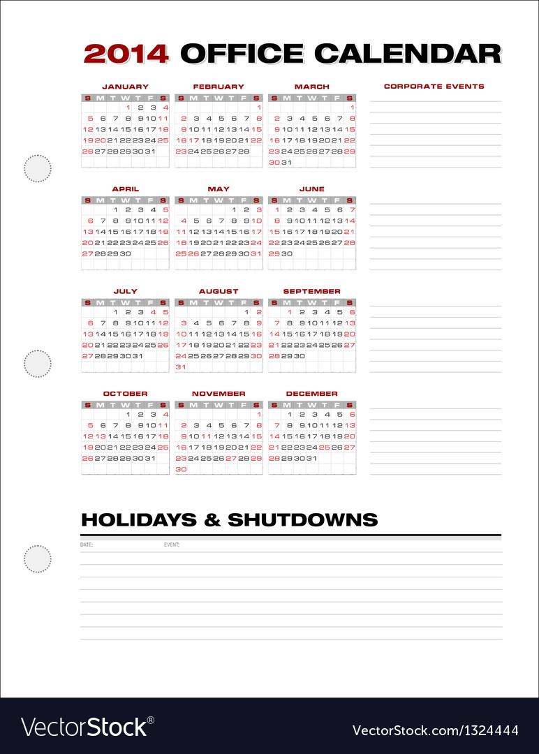 2014 Clean Corporate Office Calendar vector image