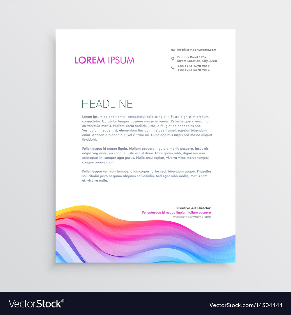 Colorful wave effect letterhead design vector image