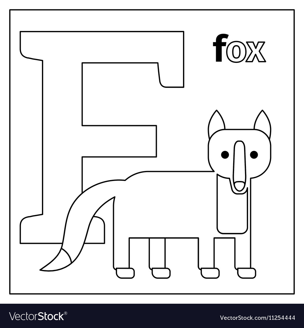 Fox letter F coloring page Royalty Free Vector Image
