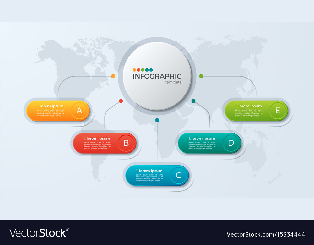 Presentation business infographic template with 5 vector image