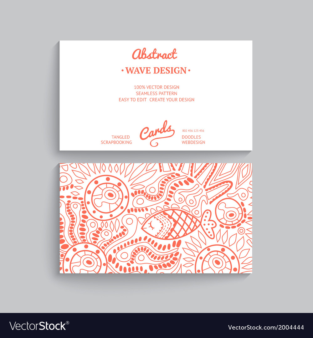 Simple business card template with decorative vector image wajeb