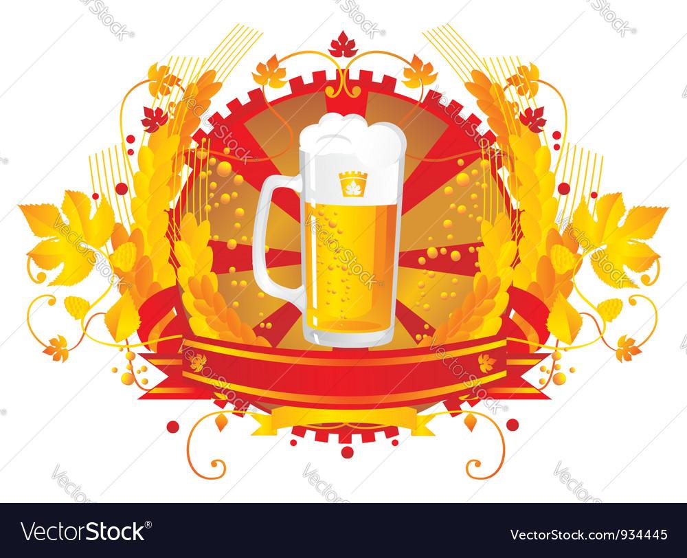 Beer mug in a vignette vector image