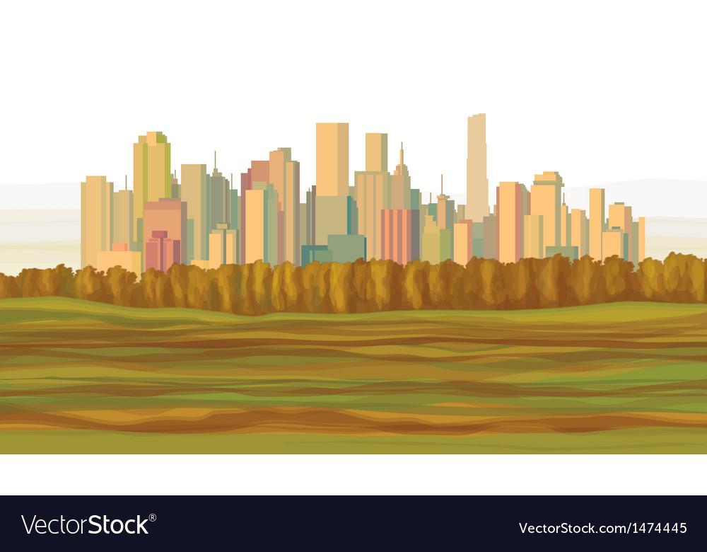 Fall city vector image