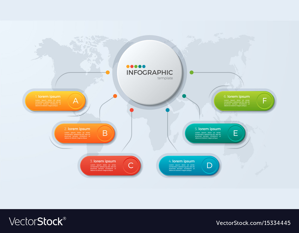 Presentation business infographic template with 6 vector image