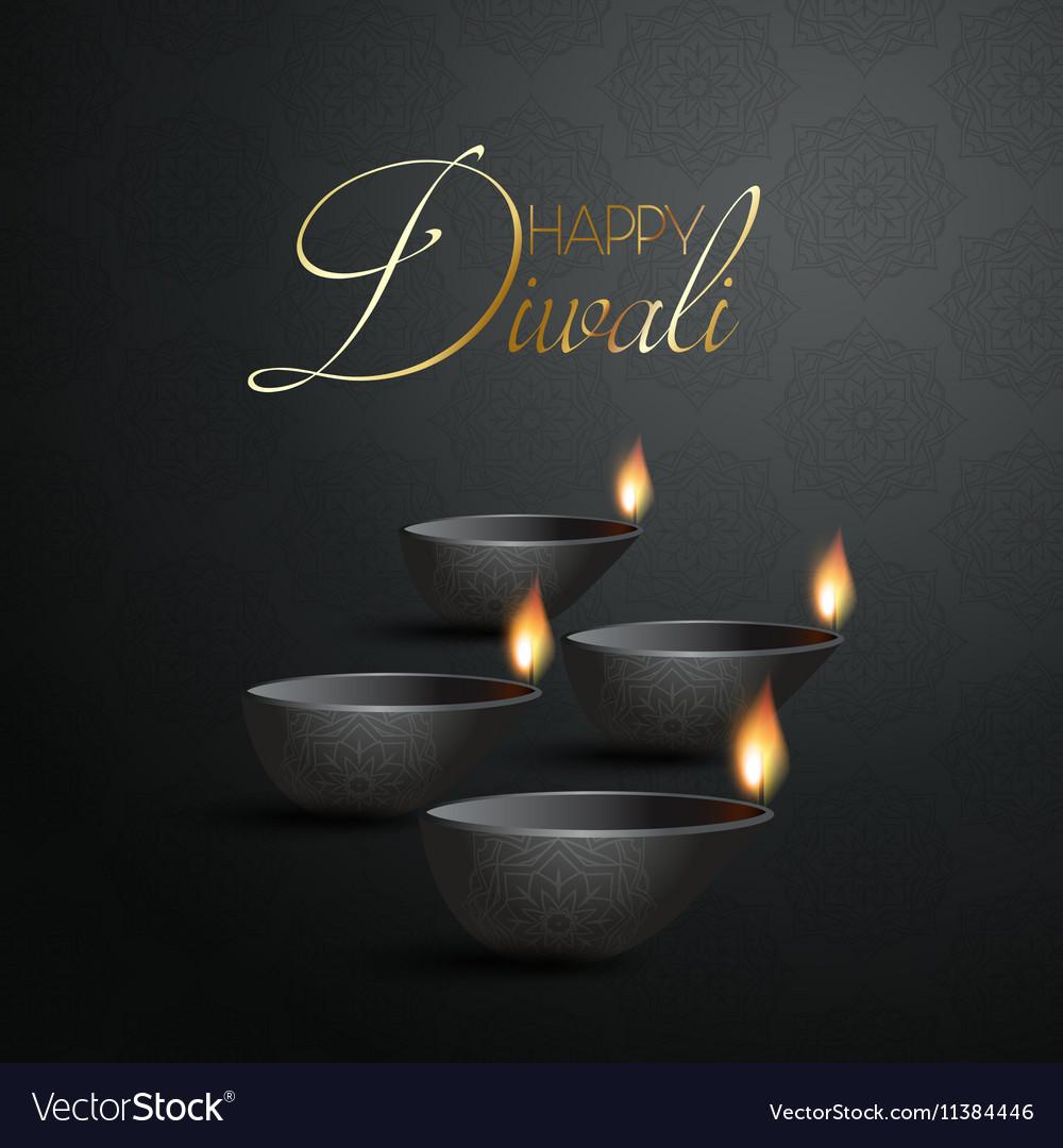 Decorative Diya lamp background for Diwali vector image