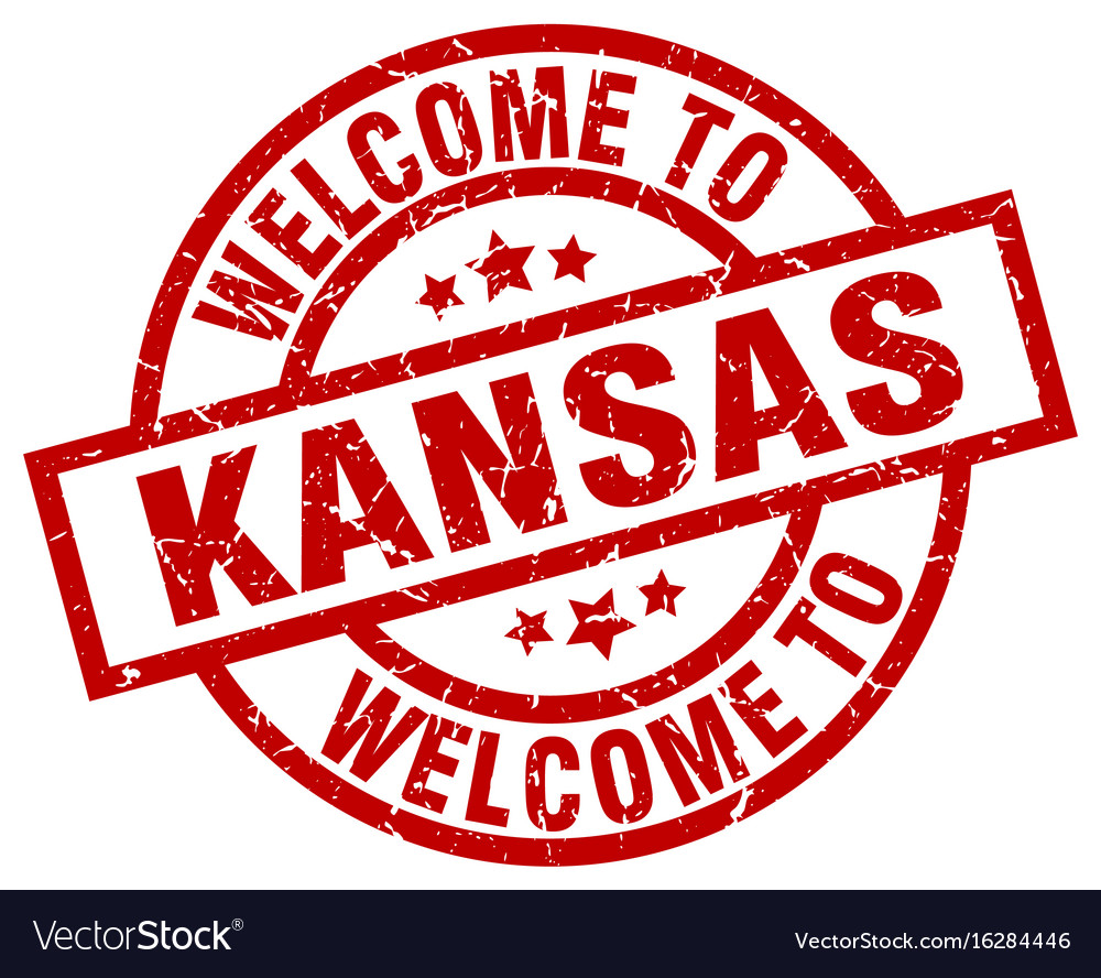Welcome to kansas red stamp vector image