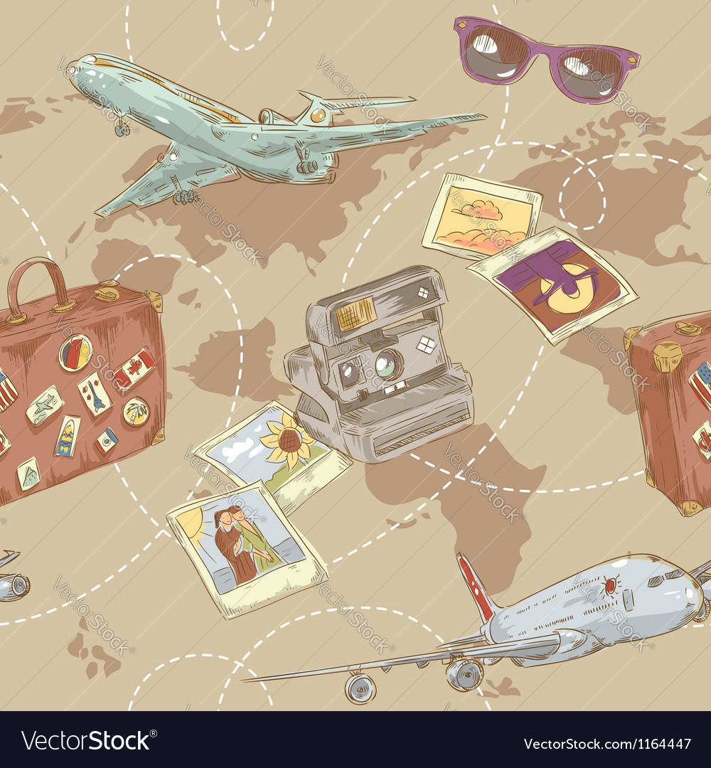 Travel seamless repeating pattern Vector Image