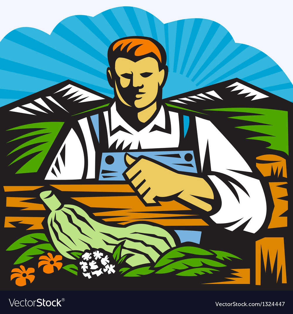Organic Farmer Farm Produce Harvest Retro vector image