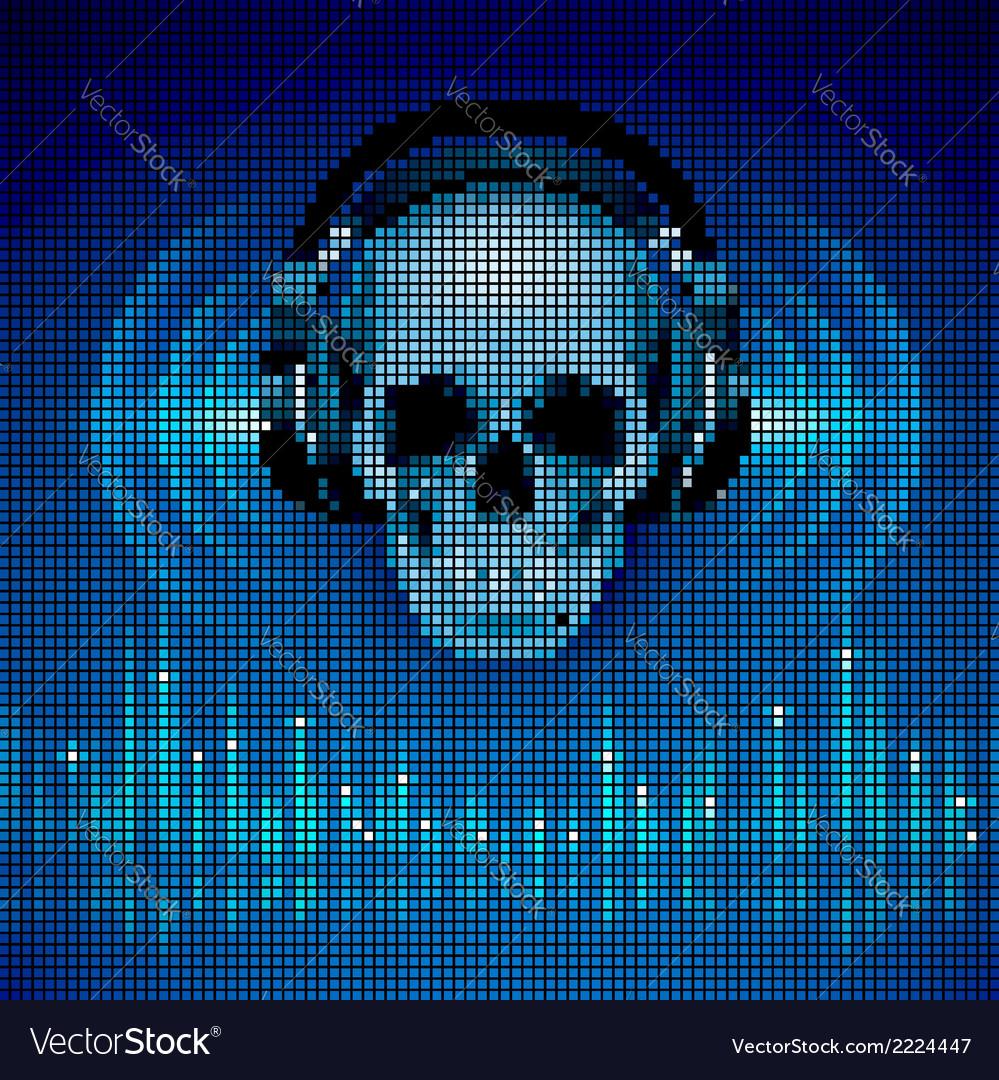 Skull in headphones LED disco background vector image