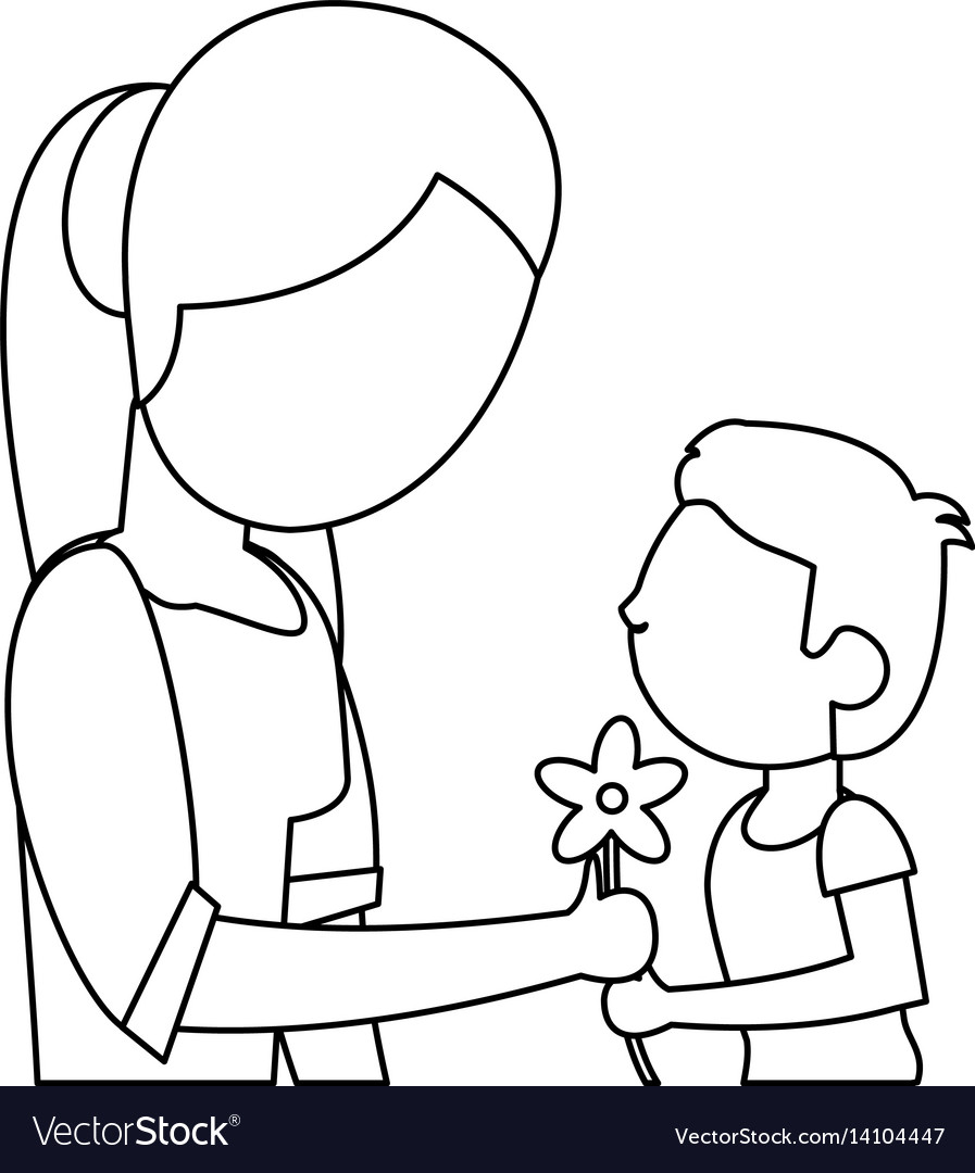 Son give flower mother outline vector image