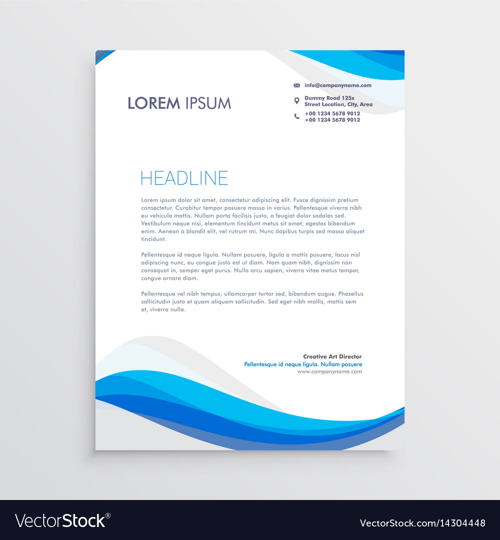 Business blue wave style letterhead template vector image