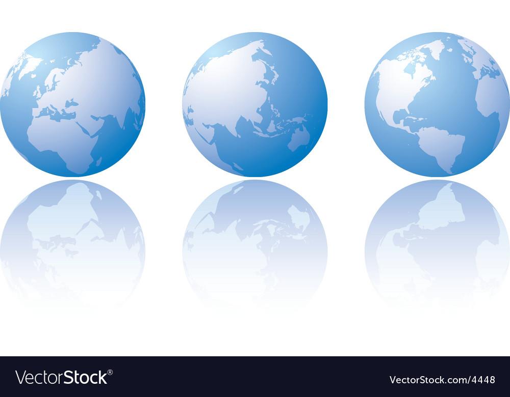 Three globe world views vector image