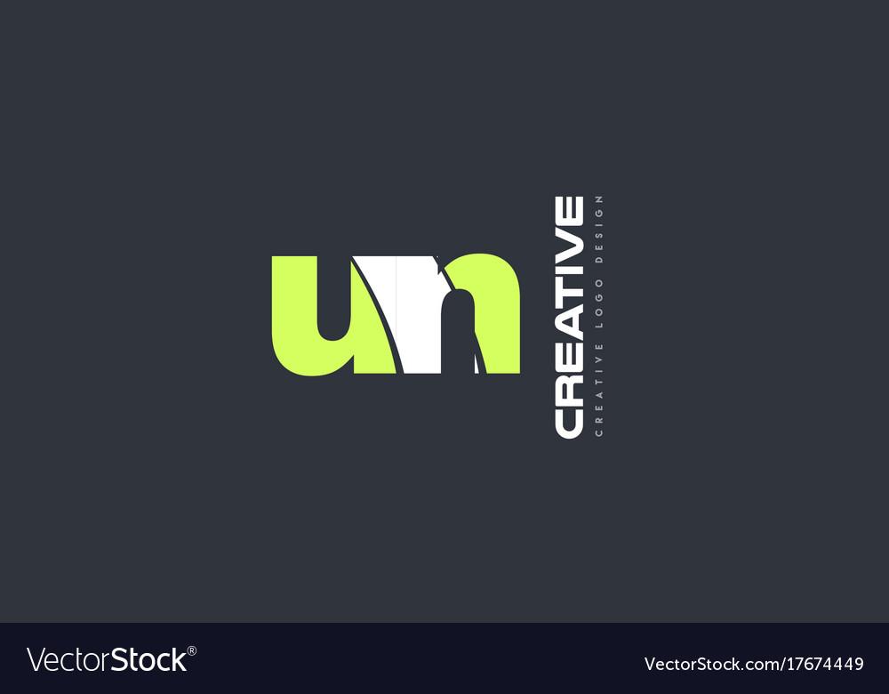 Green letter un u n combination logo icon company vector image