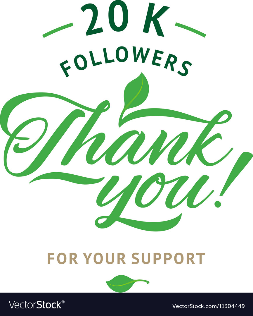 Thank you 20 000 followers card ecology vector image