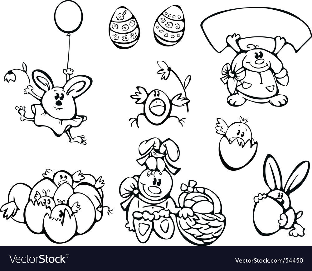 Easter chickens and rabbits Vector Image