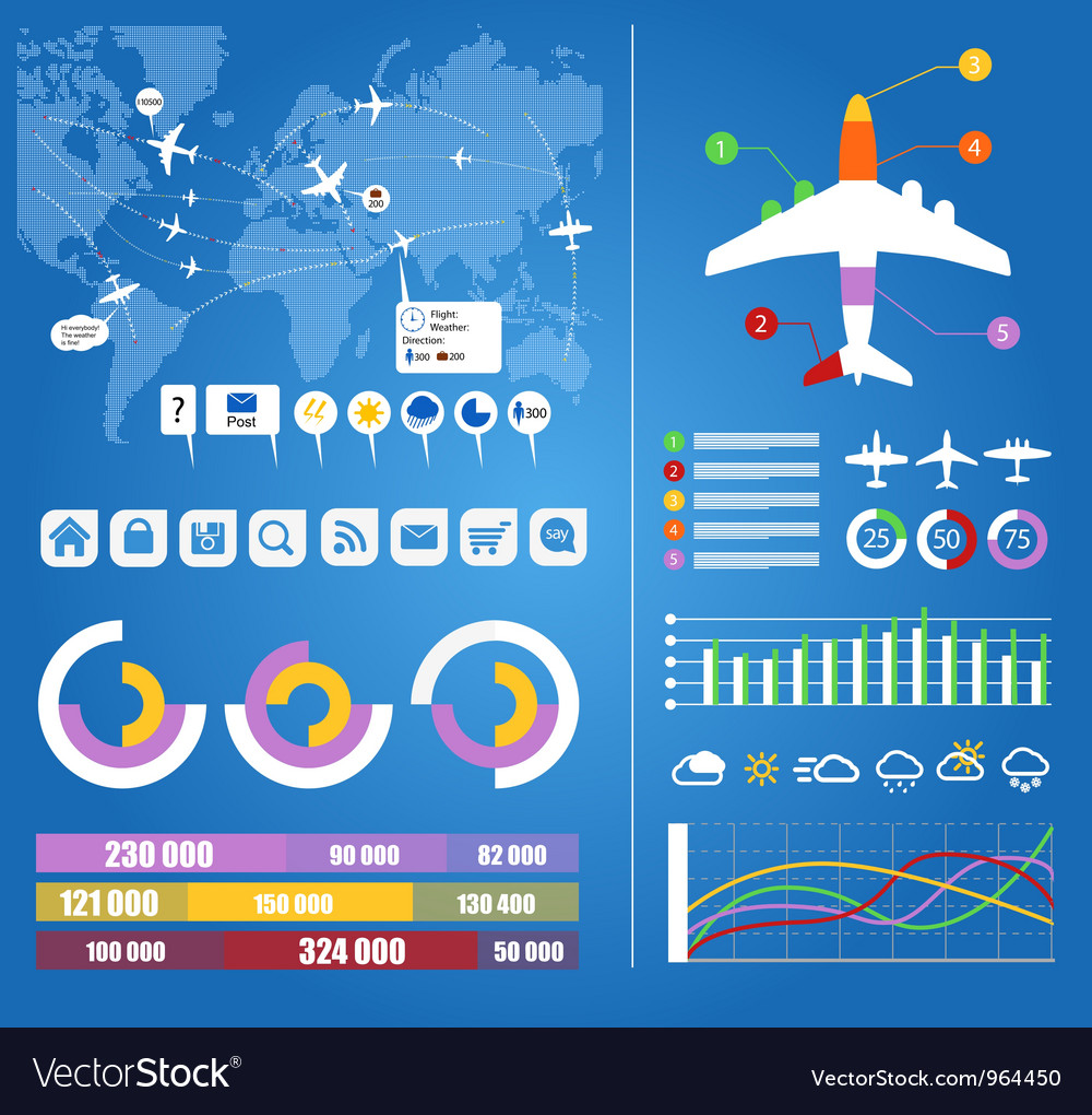Flight infographics vector image