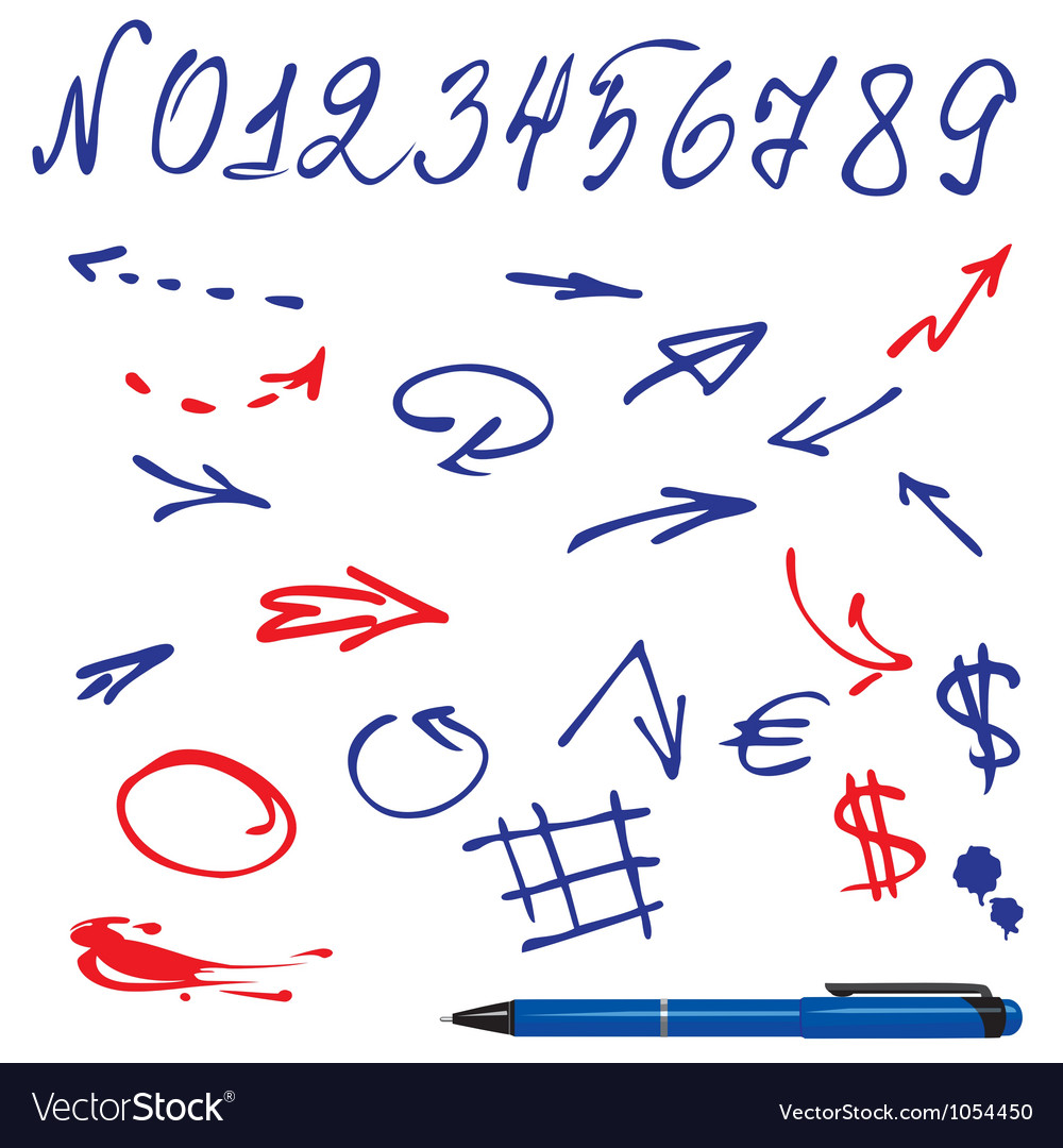 Numbers and symbols set vector image