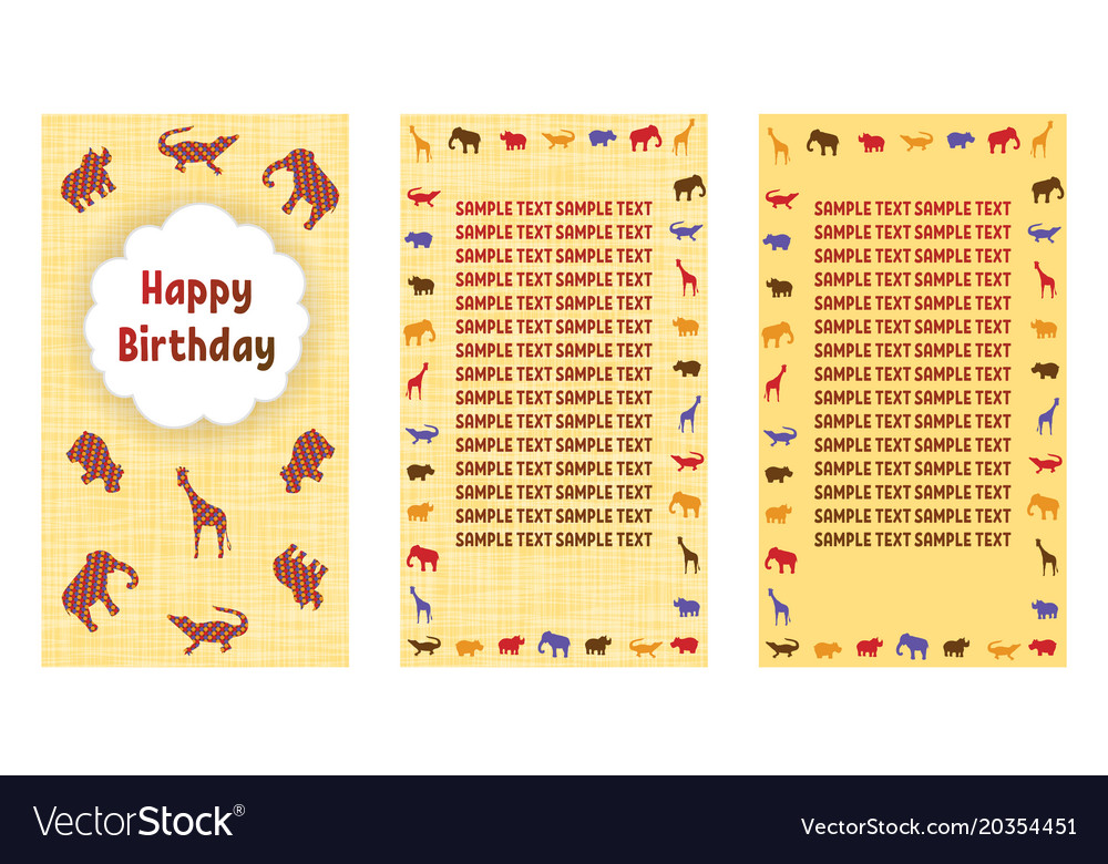 Happy birthday greeting cards three different vector image m4hsunfo