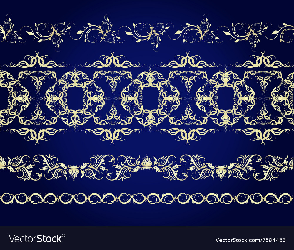 A set of linear seamless patterns vector image
