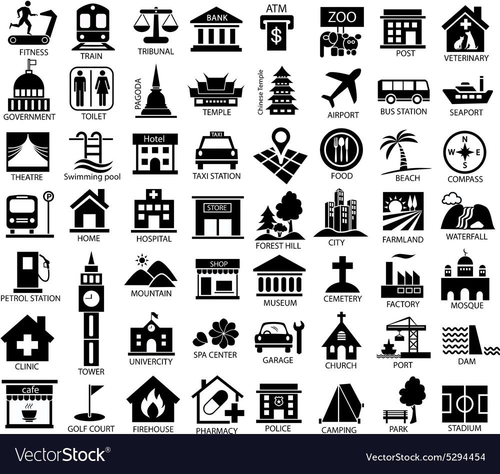 Map symbol icon set black royalty free vector image map symbol icon set black vector image biocorpaavc