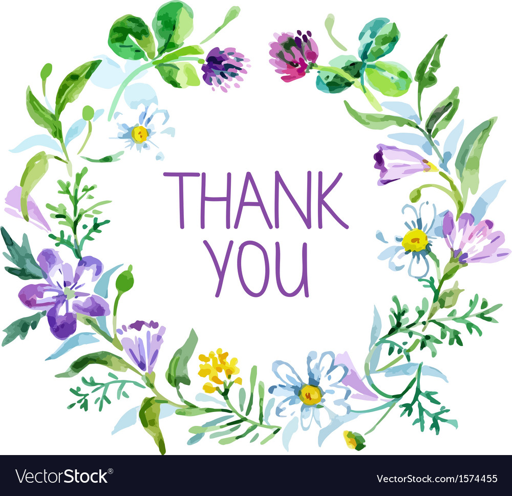 Watercolor thank you card vector image