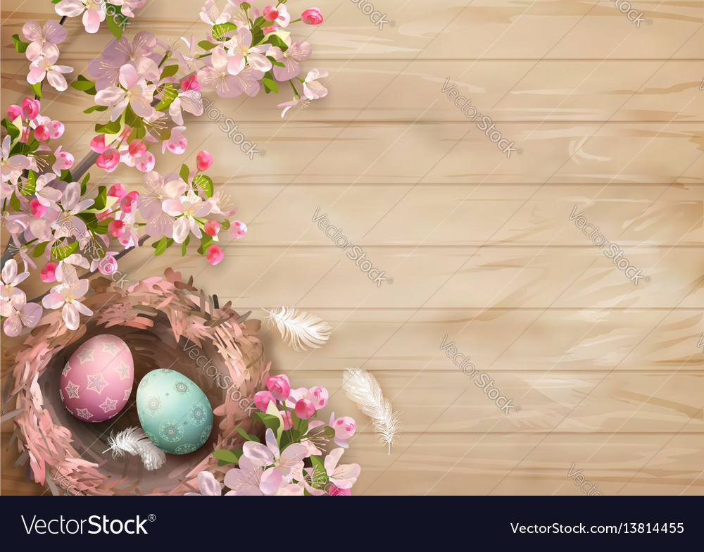 Easter wooden background vector image
