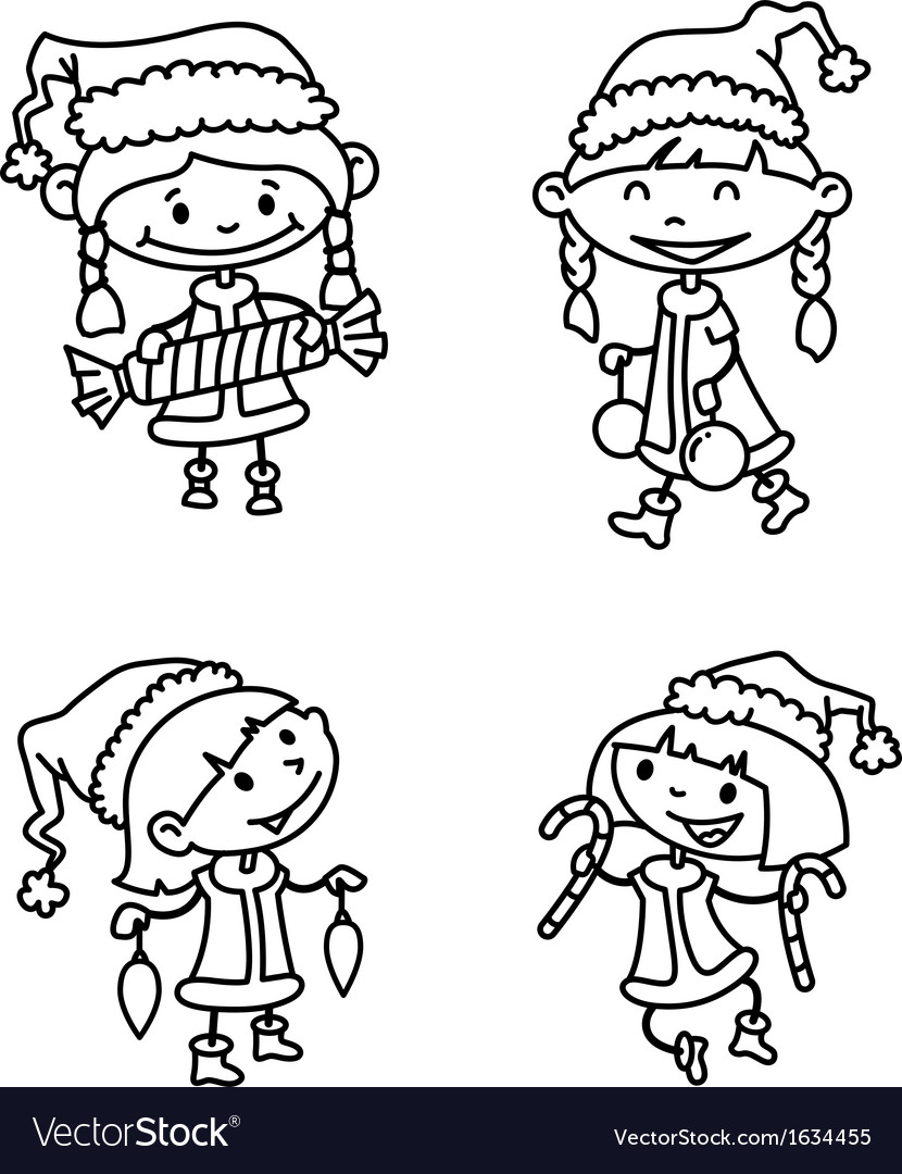 Girls set vector image