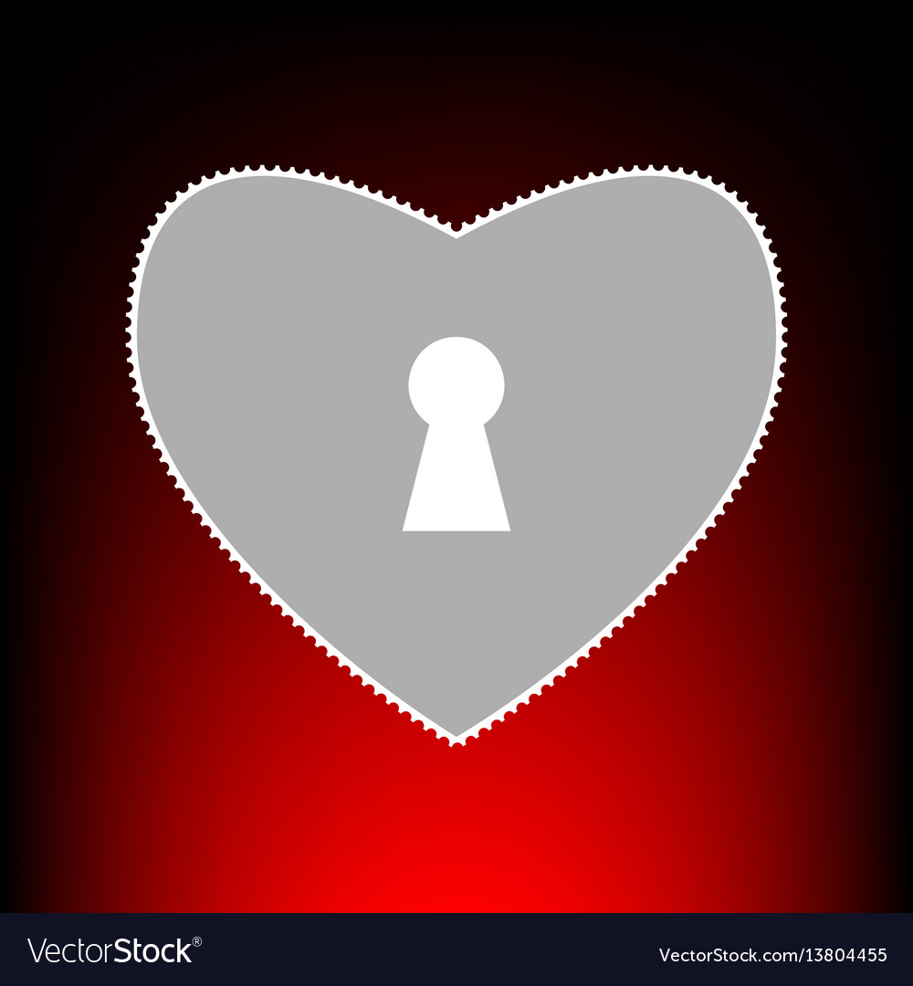Heart woth lock sign postage stamp or old photo vector image