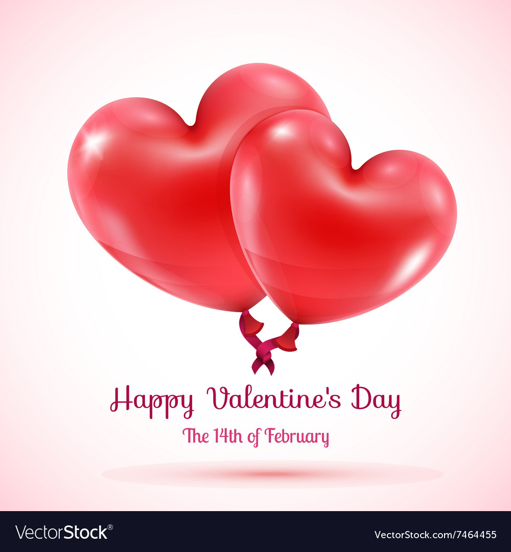 Two red balloons hearts linked vector image
