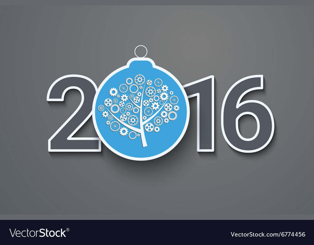 Greeting card with decorated text 2016 vector image