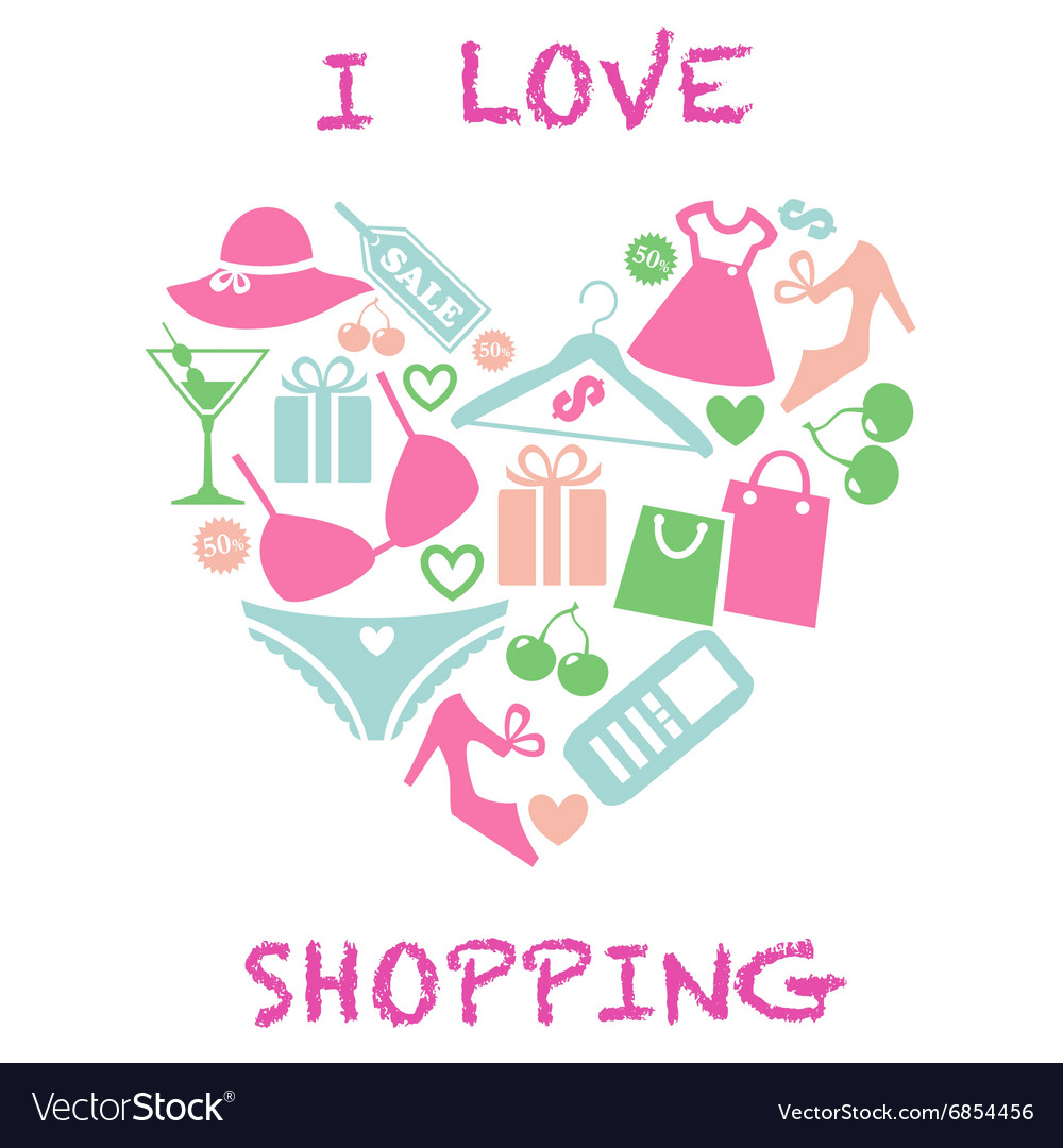 I love shopping vector image