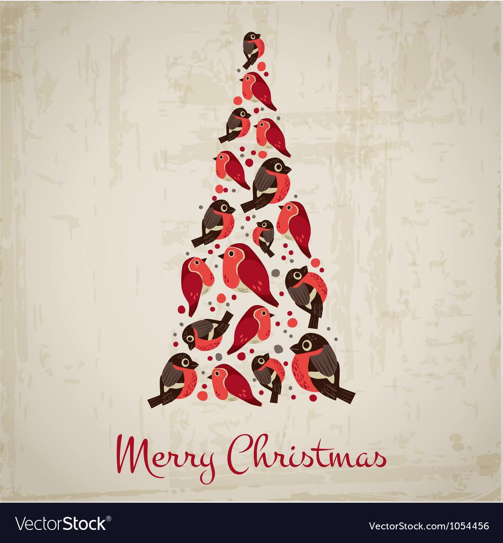 retro christmas card birds on christmas tree vector image - Retro Christmas Trees