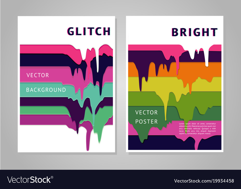 Trendy Poster Designs: Trendy Poster Design With Liquid Paint Stripes Vector Image