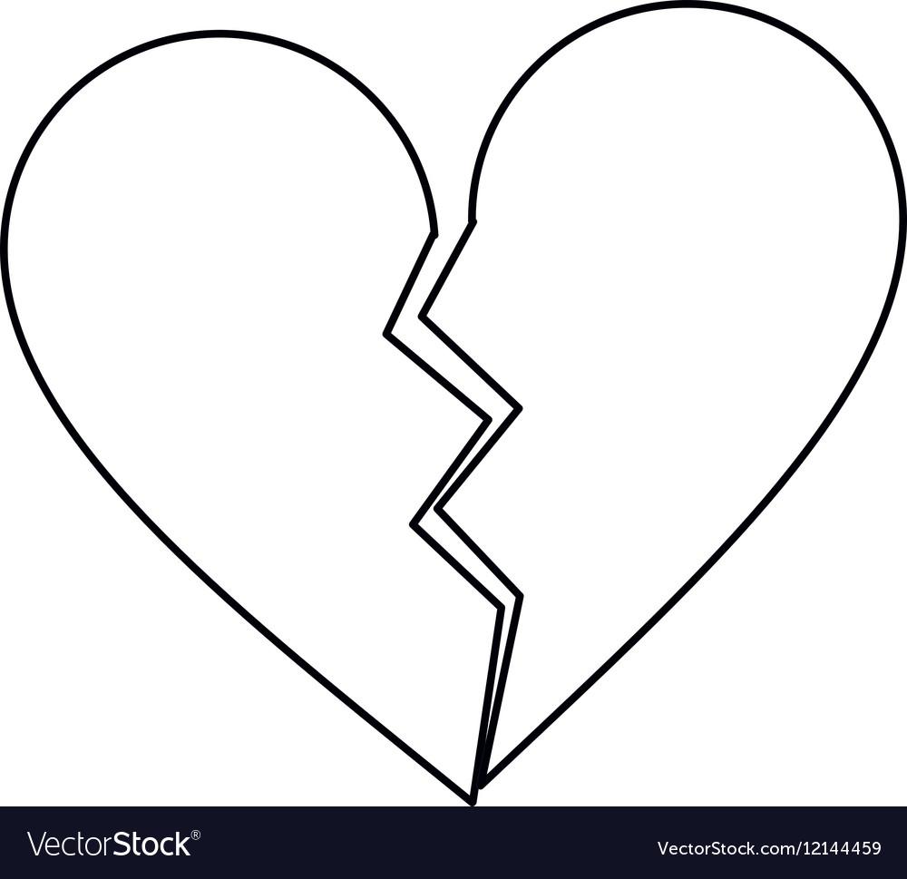 Heart broken sad separation outline vector image