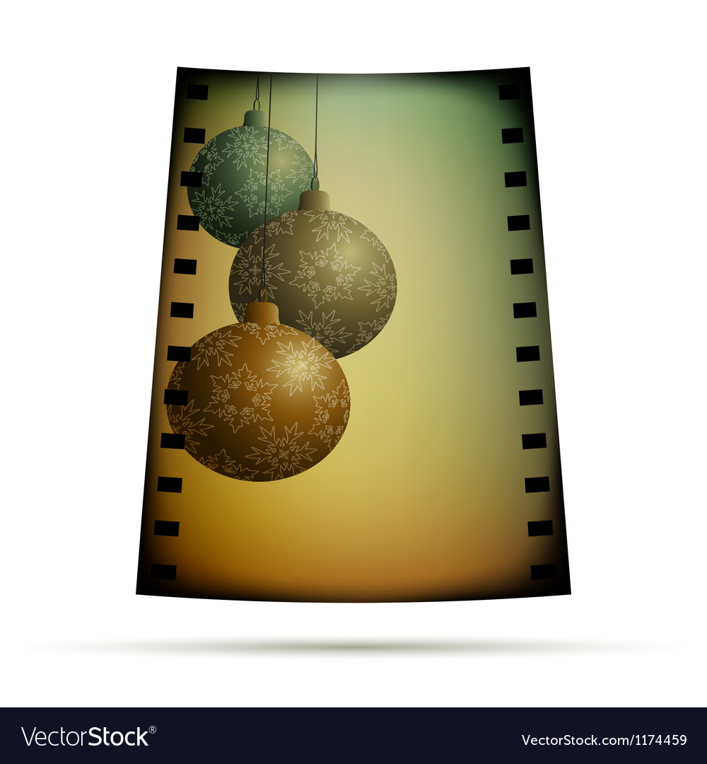 Negative film with xmas balls vector image