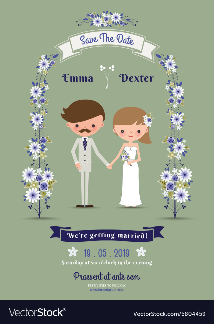 Rustic cartoon couple wedding card vector image