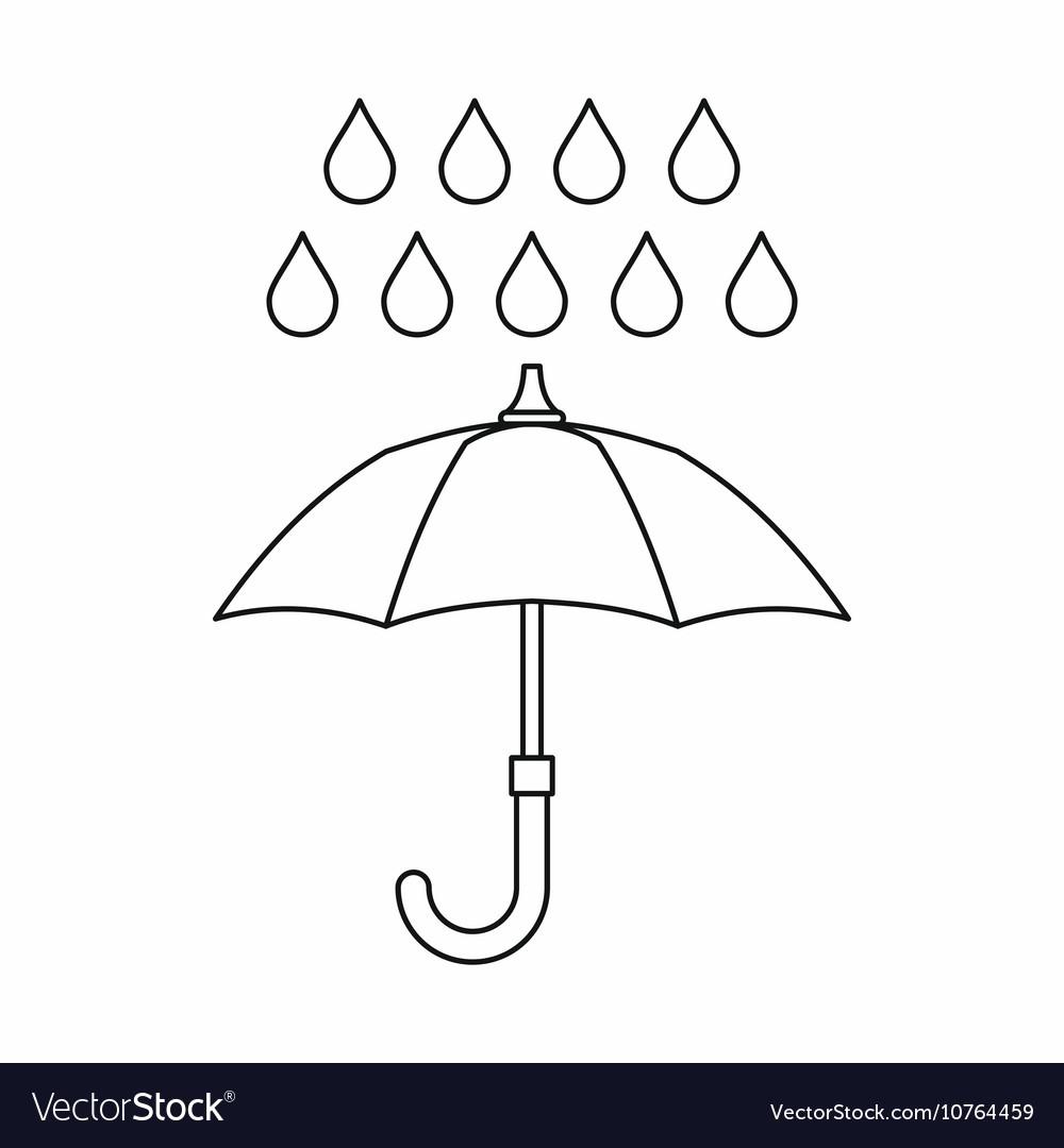 Umbrella and rain icon outline style vector image